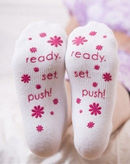 "Labor Socks ""Ready. Set. Push!"" For your hospital bag, or also a fun gift for your midwife or nurse as a thank you."