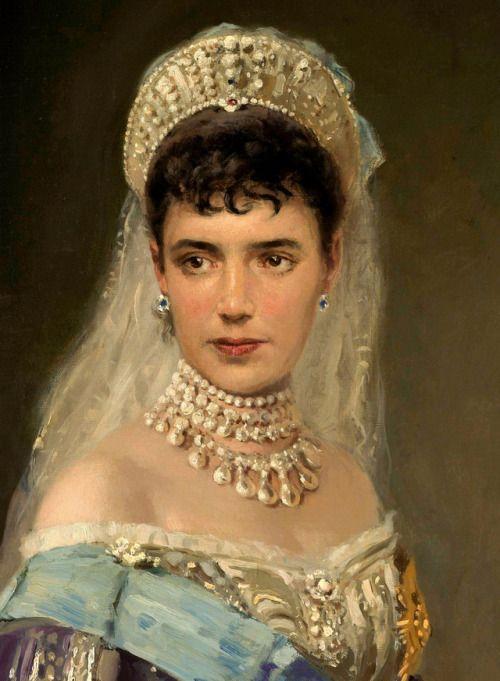 Detail of a portrait of Maria Feodorovna.