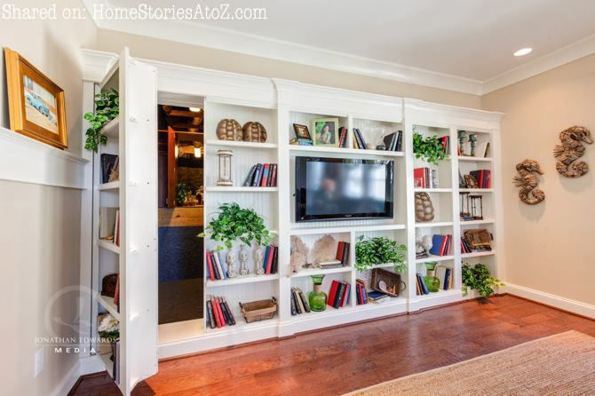 bookshelf panel opens up to reveal a secret room behind - very cool and good for a 'safe room'.