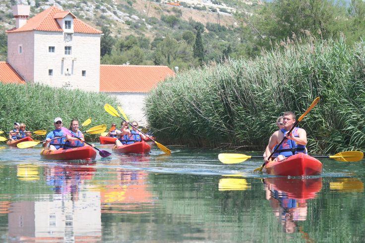 Kayaking near the old Pantana mill in Trogir, Croatia