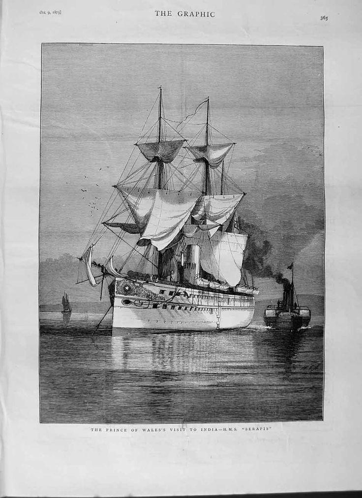 [1875 Prince Wales Visit India Ship H.m.s Serapis Print] HMS Serapis https://en.wikipedia.org/wiki/HMS_Serapis_%281866%29