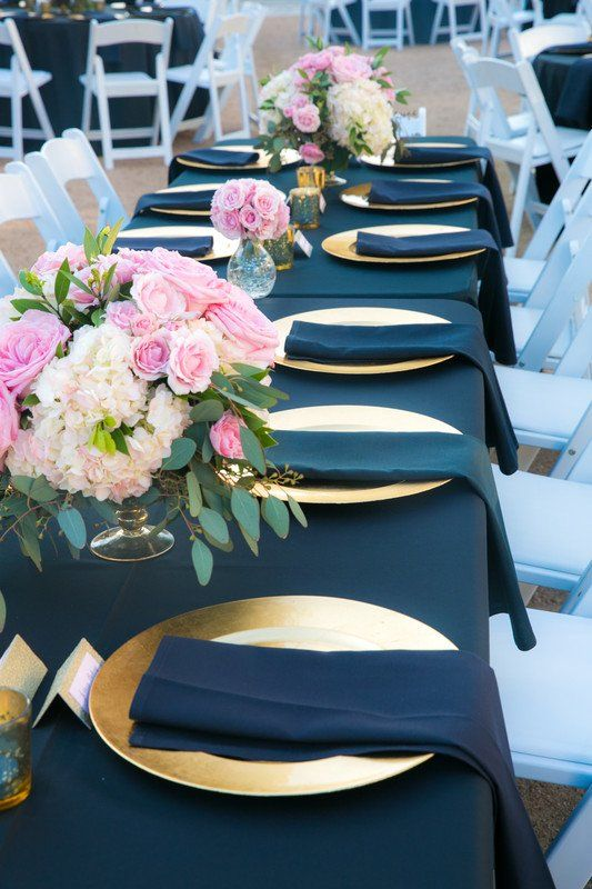 Gold Navy Wedding Reception Place Setting Idea Table Linens Plates And Pink Fl Centerpieces New Seasons Photography