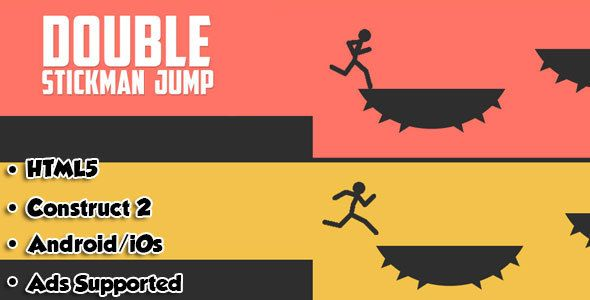 Double Stickman Jump - HTML5 Game Android + AdMob . Double Stickman is a simple yet addictive game . Remember to Make both stickman jump on platforms and not to fall.  This game is build by Construct 2 Game Engine (Capx File