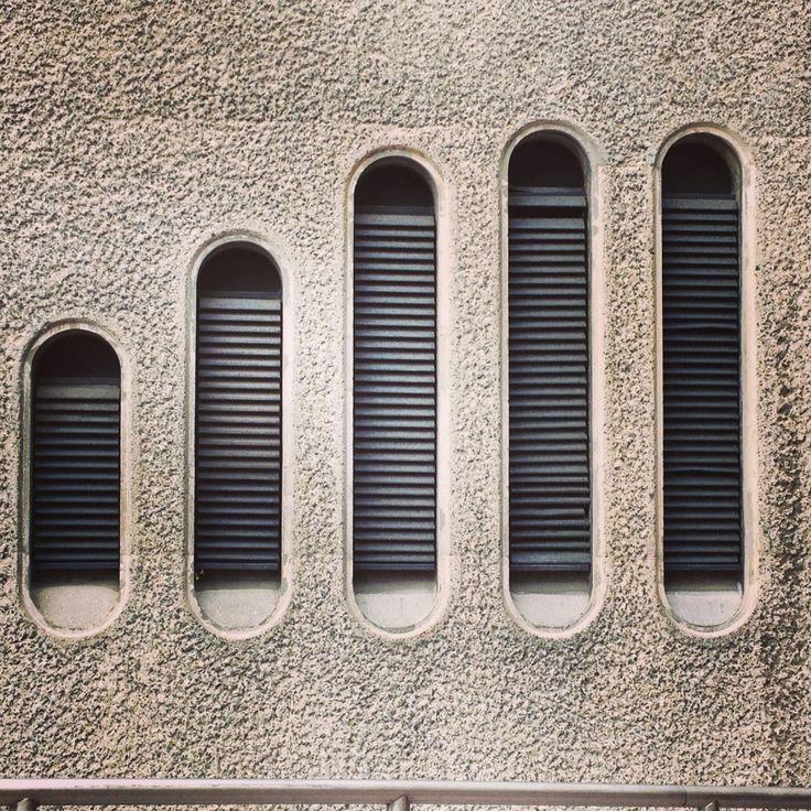 Brutalist concrete.