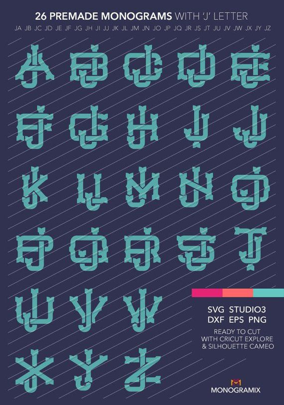 26 SVG Monograms JA JZ Original Premade Custom Design | Etsy