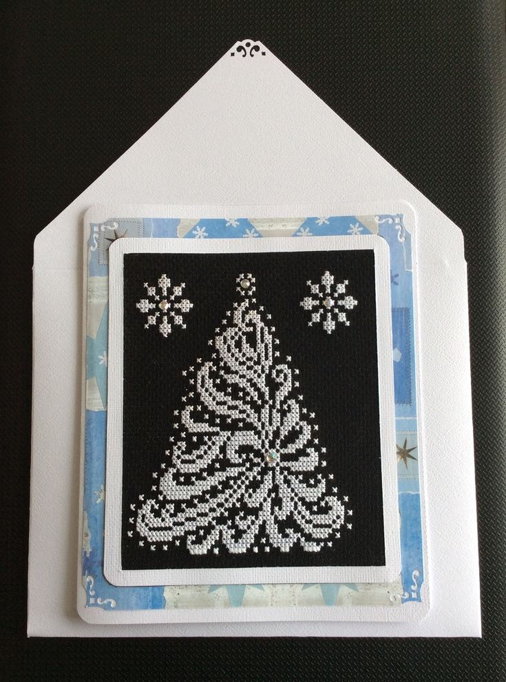 Cross stitched Christmas Tree Greeting Card made by Karen Miniaci.