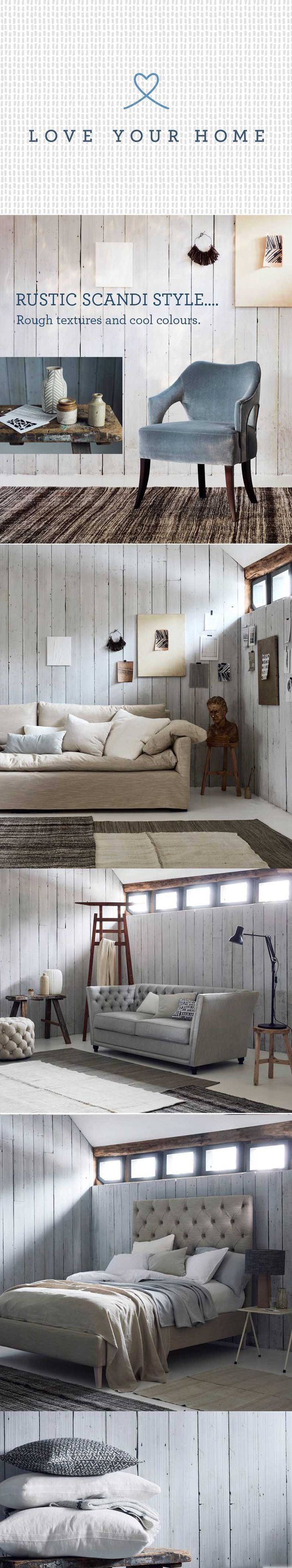 Rough, rustic wood, natural linen combined with simple upholstered furniture... whats not to LOVE.