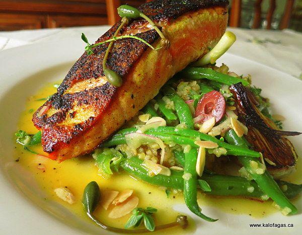 Seared Lemon Salmon With Green Beans and Bulgur