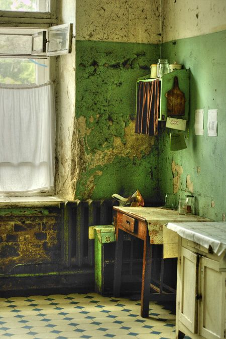 .I LOVE the color and the old-fashioned-ness of it...can't say I'm a fan of the peeling paint, though...