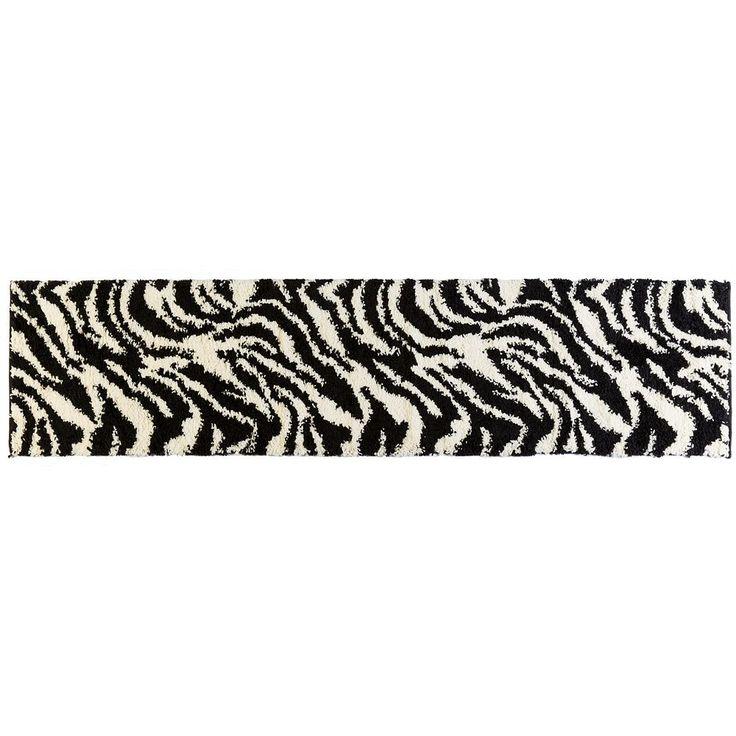 Infinity Home Madison Safari Zebra Print Shag Rug Runner - 1'8'' x 7'2'', Black