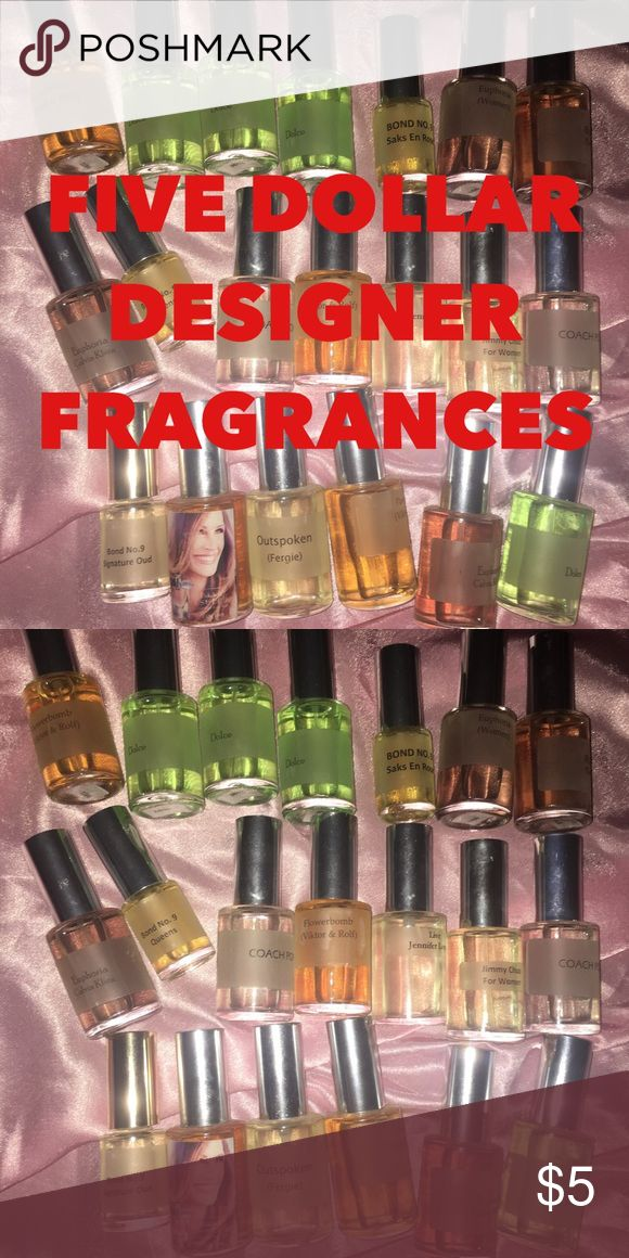 💥FIVE DOLLAR FRAGRANCES 💥 NEED GONE ASAP My mom worked at a fragrance manufacturer and she got sample fragrances for me but I don't wear perfume that much. They are authentic fragrances, I just need them gone ASAP because I'm moving. Iincludes: - Dolce  - Flowerbomb  - Bond No. 9  - Calvin Klein Euphoria - Coach Poppy ❌ - Jimmy Choo  - Jennifer Lopez Live ❌ - Fergie Outspoken ❌ - La Vie Est Belle ❌ - Tory Burch - Balenciaga❌  Each $5 so comment which fragrance you want before purchasing…
