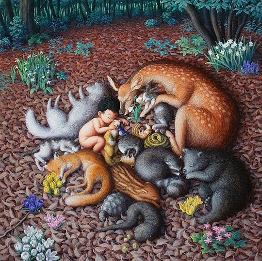 THIS PICTURE REMINDS ME OF MY WILDLIFE HABITAT.  ALL THE ANIMALS GET ALONG EATING SIDE BY SIDE BECAUSE THERE IS ENOUGH FOOD FOR EVERYONE THAT NO ONE NEEDS TO FIGHT FOR IT. AMAZING SIGHT TO SEE ♥  Beautiful Illustrations by Shinya Okayama