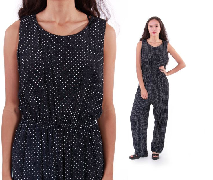 90s Vintage Jumpsuit Black and White Polka Dot Wide Leg Baggy Slouchy Sleeveless Overalls Minimalist Hipster Clothing Womens Size Medium by KCOVINTAGE on Etsy https://www.etsy.com/listing/245123773/90s-vintage-jumpsuit-black-and-white