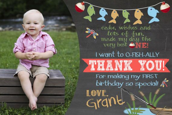 O-fish-ally One First Birthday Thank You Card Reeling in the