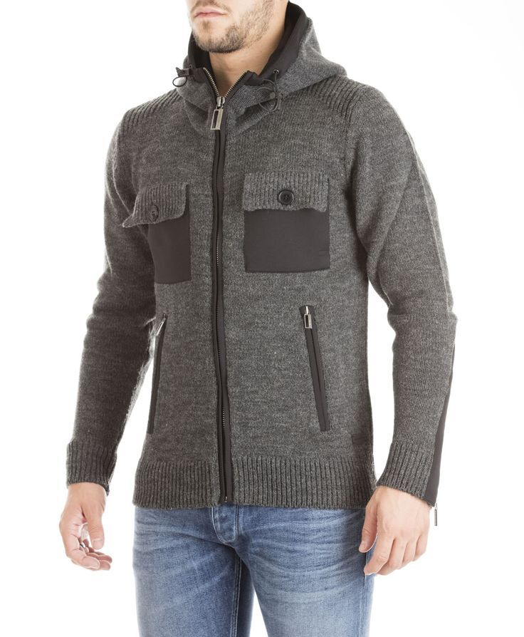 Hamaki-Ho fall/winter 2015 - grey hooded pullover with pokets