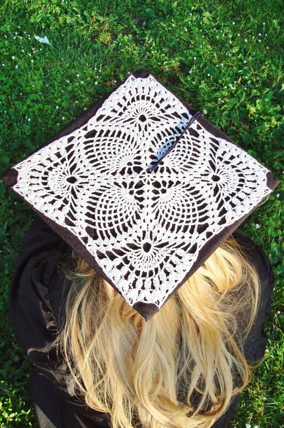 Crochet Lace Graduation Cap Decoration (cap and tassel not included) To  wear on your big day or to give as a keepsake to that spe… c86cc60a2e4