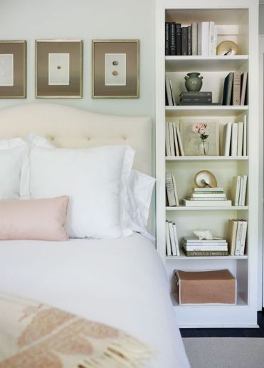 bookshelves flanking bed idea for the master bedroom