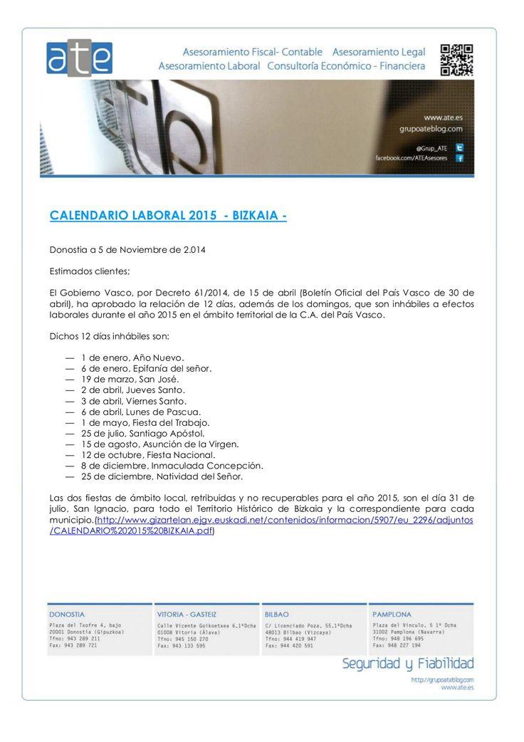 Calendario Laboral Bizkaia 2015 by ATE Asesores - ATE Informática via slideshare