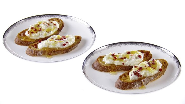 Crostini with Ricotta and Pink Peppercorns