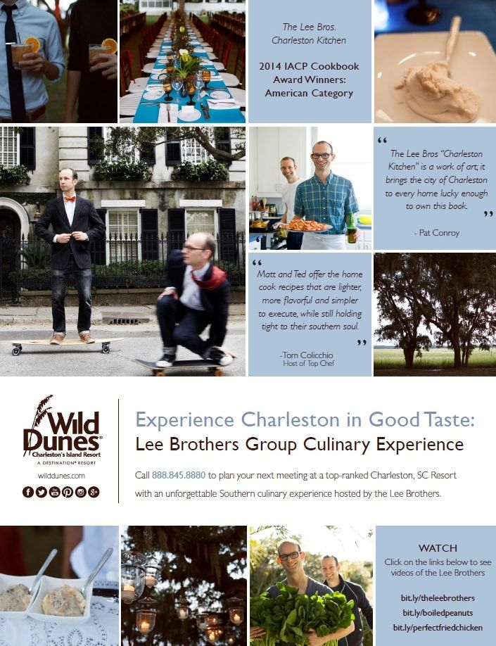 Cook up a recipe for success at your next off-site group meeting, conference or event in Charleston, SC with an unforgettable Southern culinary dining experience with Charleston natives and James Beard award-winning cookbook authors, The Lee Bros. #meetinthewild #charleston http://www.wilddunes.com/blog/meet-in-the-wild-experience-charleston-in-good-taste-book-a-private-dining-event-hosted-by-the-lee-bros-?&m=0&utm_source=social&utm_medium=social&utm_campaign=meetinthewild