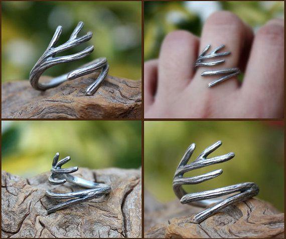 Sucursal anillo plata anillo de la ramita por aifosjewels en Etsy