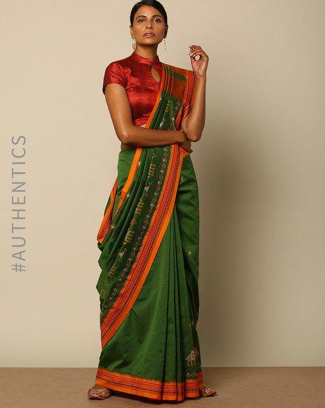 Buy Indie Picks Women Green Kasuti Embroidered South Silk Saree | AJIO