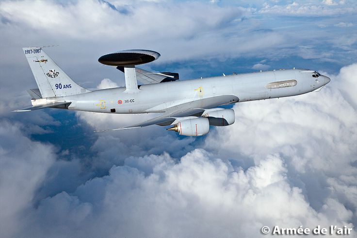 French Armée de l'Air Boeing E3-F AWACS. Detection of airborne threats & direction of  friendly forces. It has a range of 400km and loiter time unrefuelled of up to 8 hours. Date of commissioning: 1991. Wingspan: 44.4 meters. Length: 46.6 meters. Height: 12.6 m. Maximum speed: Mach 0.9