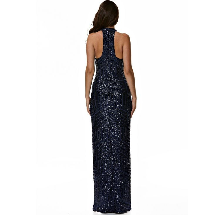 Step out and have all eyes on you in this amazing navy sequin dress. Dress Style PointsFull length Navy sequin crafted in a 4 way stretch fabric Fully lined in a stretch jersey making this comfortable on your skin A thigh high split adds sassiness to this style Featuring a centre back zip for ease Bra friendly Free delivery is offered Australia wide Call a stylist on 1300526443 for any enquires