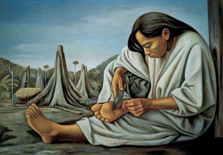 """Raúl Anguiano   La espina   1952  Óleo sobre tela  121 x 170 cm  En 1949, Raúl Anguiano fue convocado por Fernando Gamboa a formar parte de la expedición a la Selva Lacandona para registrar los murales descubiertos en Bonampak en 1946. En un diario, Anguiano recuerda: """"A la vieja María se le clava una espina en un pie; me pide mi navaja y con la punta se la saca. A pesar de que le sangra el pie, se incorpora y sigue caminando."""" Tres años después pintaría a María, la guía de su viaje."""