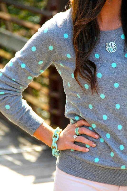 Mint & Grey Polka Dot Sweater