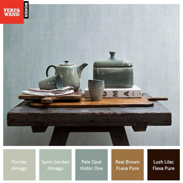 Kleurinspiratie blauw/grijs met bruin. Kom voor meer kleurinspiratie langs in onze winkel. Gebruikte verfkleuren: #HistorOne #FlexaPure #dimago http://www.verfenwand.nl/winkels/locatiezoeker
