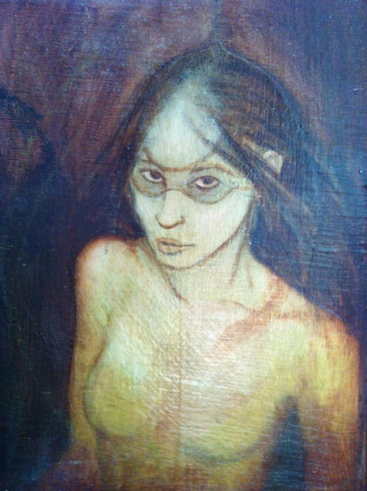 'Green Faery' oil and wax on wood 2003  Maeve Fianna Callahan.  - available - 70.