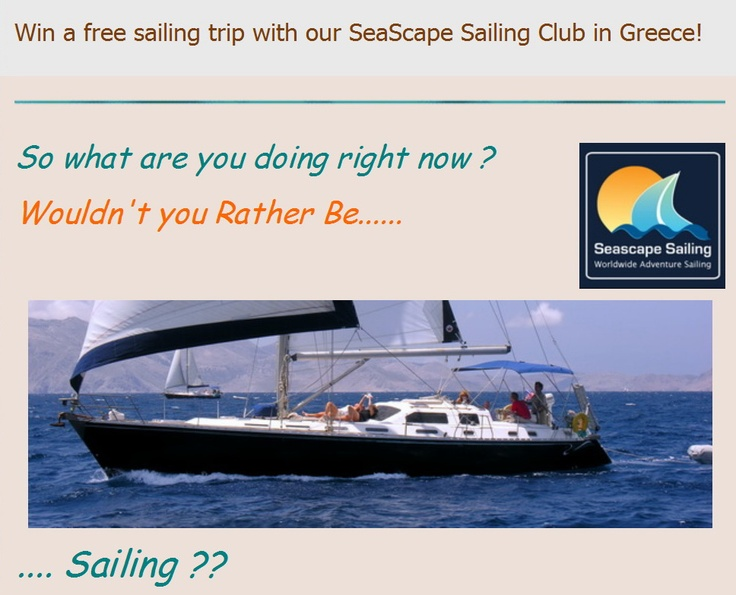 Sailing in Greece: Yes, it's for real -  we really are giving away a week's sailing with us in Sept! More info - seascapeclub.com