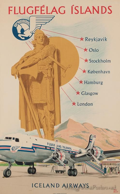 Iceland Airways vintage airline poster - from the Simmonds Collection