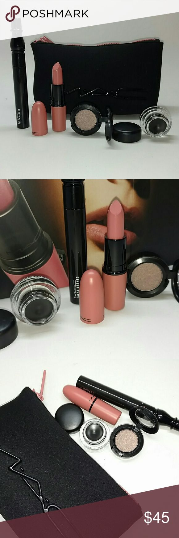MAC ~ gift set~ Final markdown Brand New MAC subleased gift set with box includes Full-size Eyeshadow in Deception (0.05 oz.) Full-size Fluidline in Blacktrack (0.1 oz.) Full-size False Lashes Mascara (0.28 oz.) Full-size Lipstick in Sunblessed (cremesheen finish) (0.1 oz.) Cosmetics Bag All new unused MAC Cosmetics Makeup