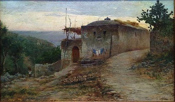"""Casolare caprese""  olio su tavola 25x41 cm del 1889"