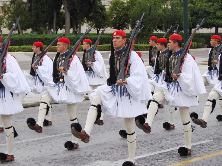 Evzones at syntagma square, Greek Parliment & Unknown Soldier - Athens, Greece 2015