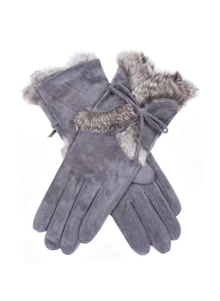 7-2357 - Charcoal. Orla - Women's pigsuede gloves with fur cuffs.