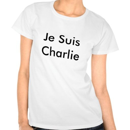 Je Suis Charlie Women's Solidarity Tee Shirt Black on White