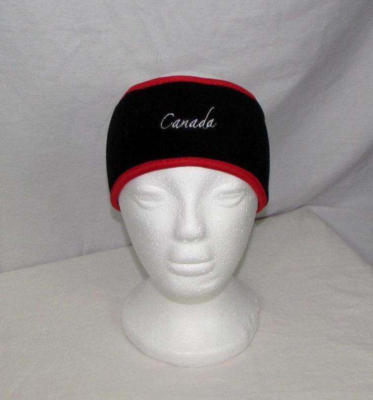 Women Embroidered Canada Winter Headband Polyester Stretch Black & Red Trim NWOT #NorthSouthFashions #Headband #Everyday