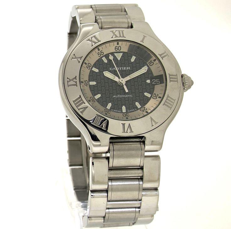 Cartier Autoscaph 21. Refnr: 2427 - article number: CA0466 #watch #cartier #cartierwatches | cartier watches mens | cartier watch for men | mens jewelry | vintage watches | vintage horloges | horloges heren | SpiegelgrachtJuweliers.com