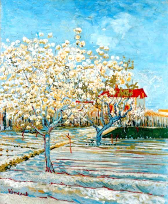 Vincent Van Gogh - Post Impressionism - Arles - Pêchers en fleurs.  Be Sure To Visit:  http://universalthroughput.imobileappsys.com/