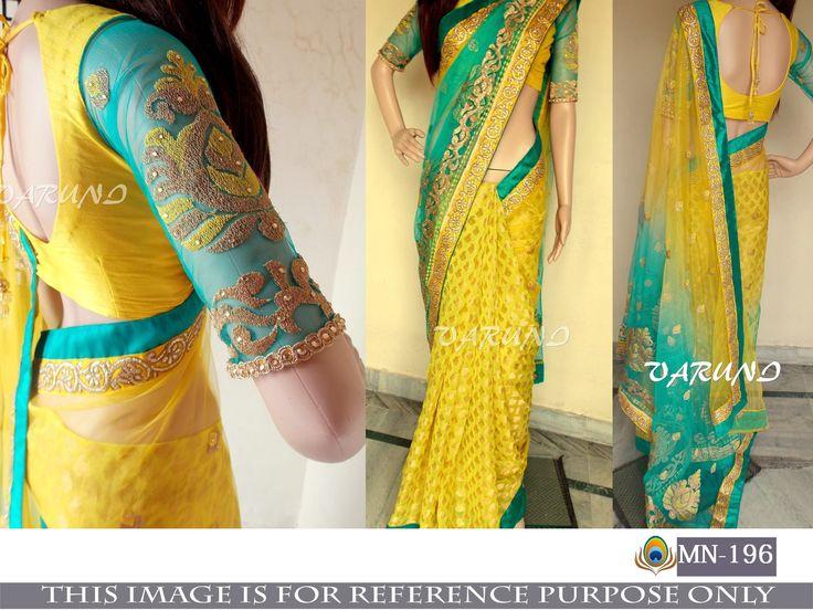 Price @2200.00 INR  Colour : Yellow & Green        Fabric : Saree Naylon Net & Jacquard Butti Blouse Bangalori Silk & Mono Net With Inner Satin      Work : Fancy Thread Work