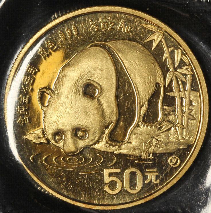 1987-Y China 1/2 oz Gold Panda BU Sealed Mint Plastic - Free Shipping USA