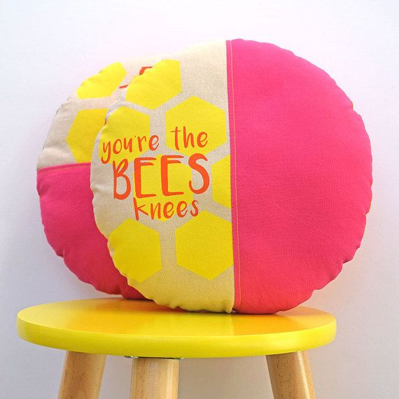 This cushion by Happy Puku would go perfectly with This Art of Mine's flower print in the Sunrise colour palette (also pinned to this board).