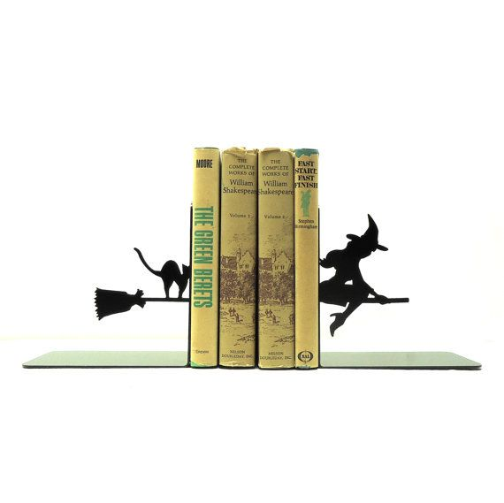Witch Metal Art Bookends  Free USA Shipping by KnobCreekMetalArts