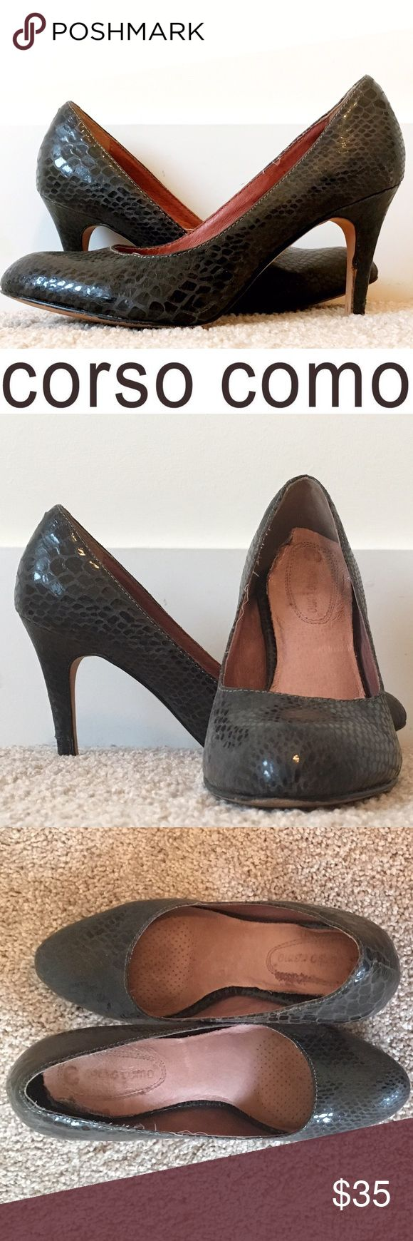 "'Del' Faux Snakeskin Pumps Gorfeous charcoal  pattern heels go with any outfit and have seen me through countless job interviews and dinner dates! Run about 1/4 size larger than marked, so the 7M fits like a small 7.5M. Heel approx 3.25"". Well-loved condition! Corso Como Shoes Heels"