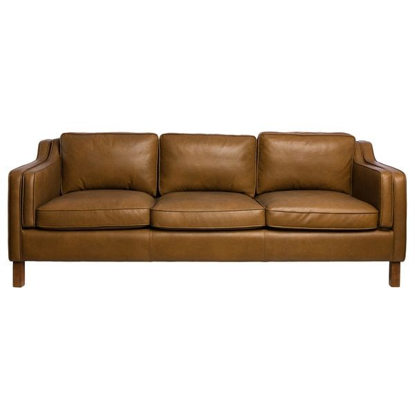 Canape 86-inch Oxford Honey Leather Sofa