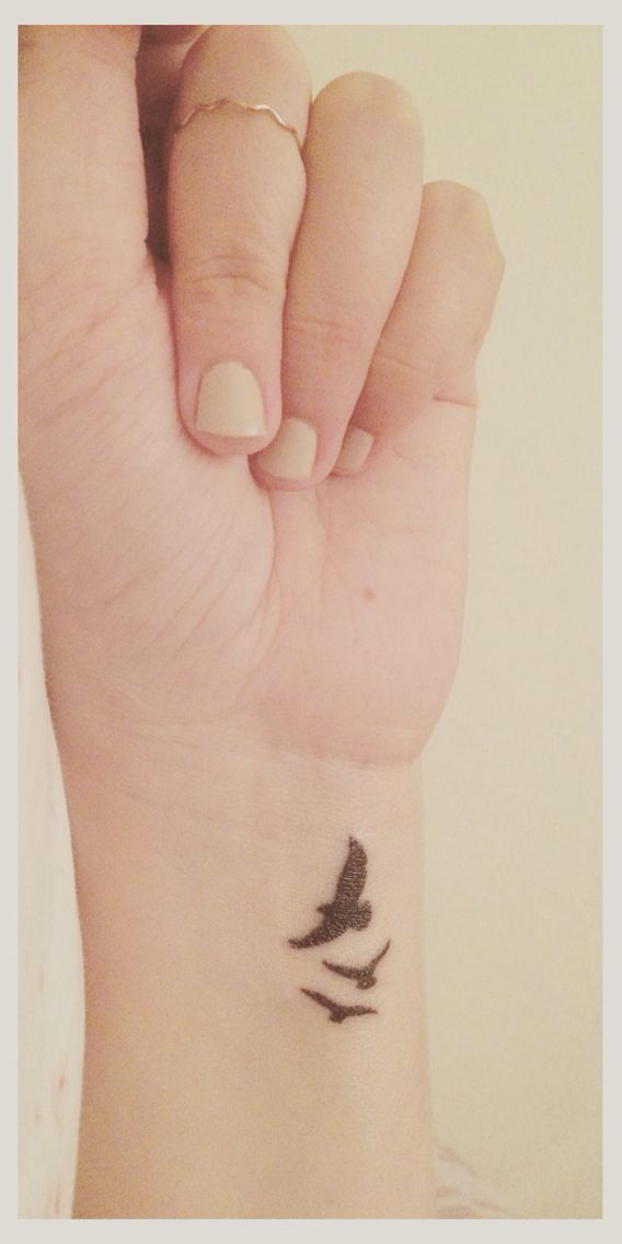 Dainty wrist tattoo idea. Three birds in flight. #Tattoo #Birdtattoo #Petitetattoo
