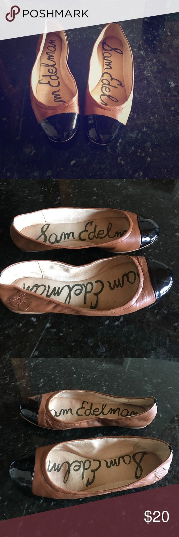 Sam Edelman 'Baxton 2' Black Cap Toe Ballet Flats Sam Edelman 'Baxton 2' Black Cap Toe Brown Ballet Flats  Like new! An elasticized topline perfects the fit of a classic cap-toe flat. Leather upper/synthetic lining and sole.   Size 9.5   From a smoke free home. Sam Edelman Shoes Flats & Loafers